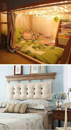 27 Unique Bed Ideas For Kids and Adults: There's a lot of great ideas in this list. Good headboard ideas and some really amazing kids bed design ideas. We want to merge our boys rooms and do the bunk bed. Home Bedroom, Bedroom Decor, Bedroom Rugs, Bedroom Loft, Master Bedrooms, Bedroom Ideas, Home And Deco, Kid Beds, My New Room