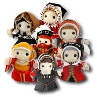 Miniature felt dolls of Henry and his queens. They need removable heads, methinks, but still awesome!