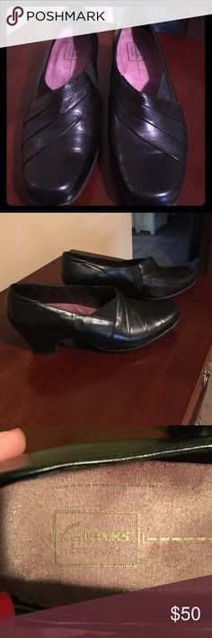 Clarke black leather slip on shoes Barely worn Clarke black leather slip on shoes. 2 inch heel. Great condition! Clarks Shoes Heels
