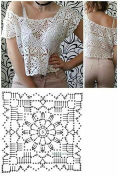 Pull Crochet, Mode Crochet, Crochet Coat, Crochet Blouse, Thread Crochet, Crochet Stitches, Granny Square Crochet Pattern, Crochet Squares, Crochet Motif