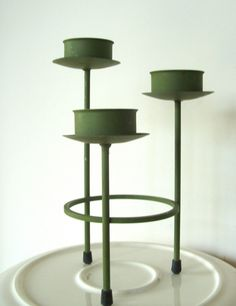 Vintage Green Metal Candleholder for 3 small by lookonmytreasures