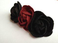 Felt Flower Barrete  Black & Dark Red by Lilica on Etsy, $15.00