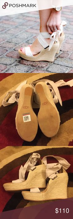 """Like New UGG Jules Wedges in Pearl. Sz 7. Like New UGG Jules wedges in light tan (the site says """"pearl""""). They tie around the ankle, and they're super cute - great for a casual outfit. UGG Shoes Wedges"""