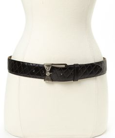 Betsey Johnson Black Quilted Bow Buckle Belt | zulily
