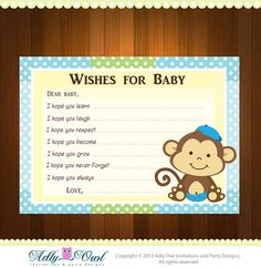Boy Monkeys Baby Shower Wish and Advice Card Printable DIY  - ONLY digital file - you print on Etsy, $4.50