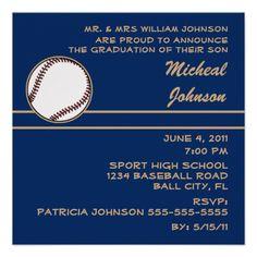 Baseball Sport Class Graduation Invitation Pinterest