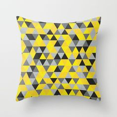 Sunny Yellow and Grey / Gray - Hipster Geometric Triangle Pattern Throw Pillow by pelaxy Down Pillows, Throw Pillows, Colour Board, Color, Yellow Theme, Triangle Pattern, Pillow Inserts, Hipster, Poplin Fabric