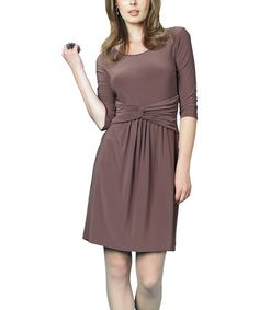Take a look at this Mocha Twist Dress - Women by Clara Sunwoo on #zulily today!