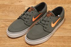 cde1614b2c34 Nike SB Zoom Stefan Janoski Canvas Dark Mica Green   Atomic Orange   Black  £59.95. Chopper Skate