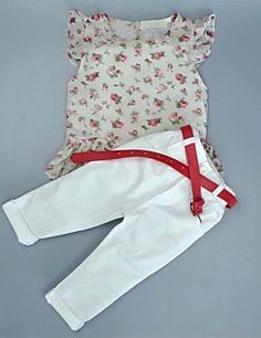 2f23e537d4d8 Girl s Cotton Fashion And Lovely Europe And The United States Pure And  Fresh Small Broken Flower Jacket Pants Belt Three-piece Suit