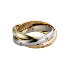 Cartier Trinity Ring  18k 3-gold ring set with diamonds