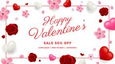 Valentines day sale background with flowers and hearts Premium Vector Love Cover, Valentines Sale, Valentines Day Background, Lorem Ipsum, Hearts, Place Card Holders, Happy, Flowers, Ideas