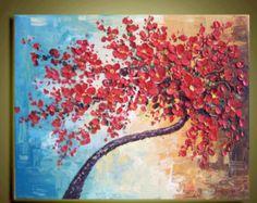 weiße Kirschblüten Baum Original abstrakte Ölgemälde von art68
