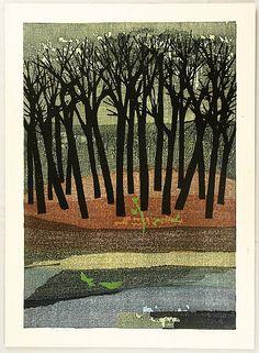 Tamami Shima, April Grove, woodcut