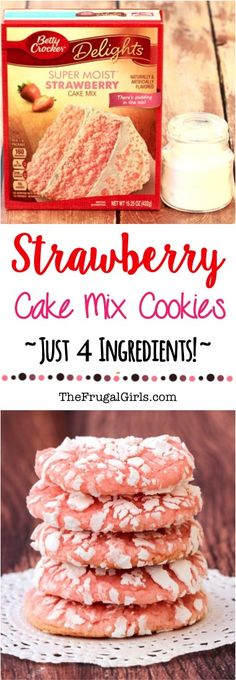 Strawberry Cake Mix Cookies Recipe from who knew 4 ingredients could taste SO good Youll love these easy cookies and the powdered sugar coating sends them overthetop Köstliche Desserts, Delicious Desserts, Dessert Recipes, Yummy Food, Brownie Desserts, Cake Mix Cookie Recipes, Yummy Cookies, Cake Recipes, Cake Mixes