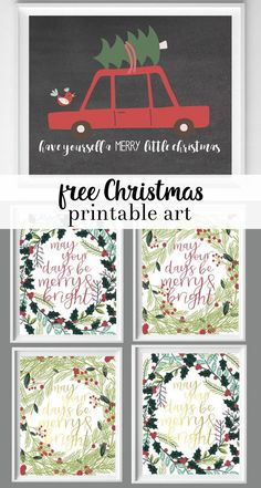 """There are so many things I love about this Christmas printable. The chalkboard background, the whimsical fonts, and the sweet bird riding on the red vintage car makes this printable perfect for the rustic, farmhouse-style decor that's so popular now. Download, print, and add a frame for some darling holiday decor! """"have yourself a merryRead More"""