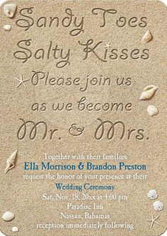 adorable beach wedding invitation wording ideas for a destination wedding. My Big Day Events, Colorado Weddings, Parties, Corporate Events & More! Loveland, Fort Collins, Windsor, Cheyenne, Mountains. http://www.mybigdaycompany.com/ #wedding #destination #mybigday