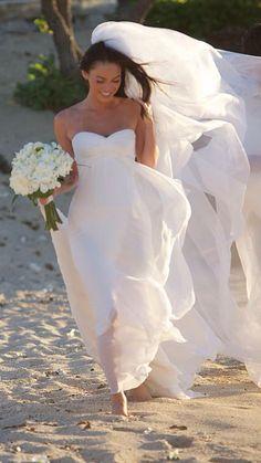 Megan fox's wedding dress. Armani Prive chiffon gown with sweetheart neckline.