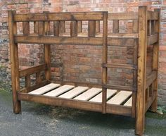 The Rustic chunky bunk bed finished in hand wax