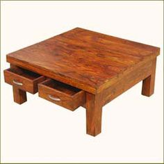Rustic Solid Wood 4 Drawers Square Storage Coffee Table