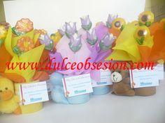 Portalapiceros de peluche con flores de chocolate, regalos por el día de la madre, día de la mujer, regalos corporativos