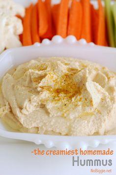 The Creamiest Homemade Hummus | NoBiggie.net | So I have a new favorite way to make hummus!