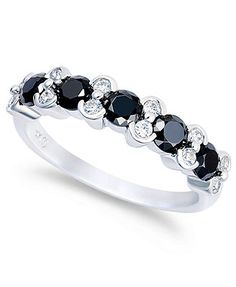 10k White Gold Ring, White Diamond and Black Diamond Ring (2 ct. t.w.) $2295