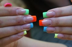 Summer brights french manicure Nail Art