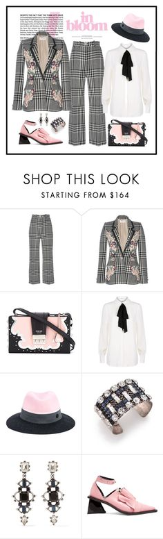 """""""Zuhair Murad Multicolor Embroidered Tweed Jacket & Pant"""" by romaboots-1 ❤ liked on Polyvore featuring Zuhair Murad, SALAR, Claudie Pierlot, Maison Michel, DANNIJO and Marques'Almeida"""