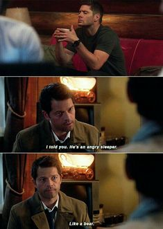 Supernatural - Tombstone/ Dean, and Cas speaking to Jack - hated that Dean scared Jack like that, but this part made me laugh angry sleeper Misha Collins, Jensen Ackles, Supernatural Destiel, Dean Winchester, Jared Padalecki, Medici Masters Of Florence, Nerd, Bubbline, Film Serie