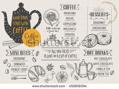 Coffee restaurant brochure vector, coffee shop menu design. Vector cafe template with hand-