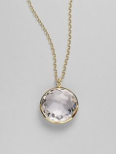 clear quartz and 18k gold necklace