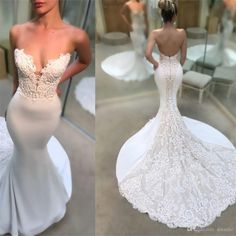 Sexy Mermaid Wedding Dresses White And Ivory Court Train Long Bridal Gowns Satin Sheer With Floral Applique Wedding Gowns Brides Wedding Dress Cheap Mermaid Wedding Dress From Dstudio, &Price; Pink Wedding Gowns, Wedding Dresses With Straps, Lace Mermaid Wedding Dress, Wedding Dresses Plus Size, Plus Size Wedding, Mermaid Dresses, Cheap Wedding Dress, Wedding Bride, Bridal Gowns