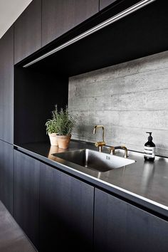 Stainless steel sink, gold faucet