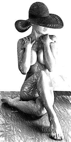 Rafael Salazar Digital Art - Woman Sketch In Black And White by Rafael Salazar