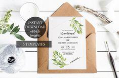 Wedding Invitation suite template INSTANT Download
