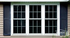 White, double-hung windows with colonial grids. Double Window, Double Hung Windows, Front Windows, Casement Windows, Exterior Windows, Yellow Houses, Dream House Exterior, Home Reno, Country Farmhouse