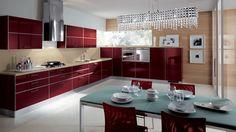 Tips for Italian Kitchen Design and Decor Red Kitchen Cabinets, Kitchen Appliances, Country Kitchen, New Kitchen, Kitchen Layout, White Laminate Flooring, High Gloss Kitchen, Glass Top Dining Table, Kitchen Installation