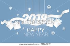 Happy New Year 2018 vector illustration with gift box and ribbon using paper art and craft style