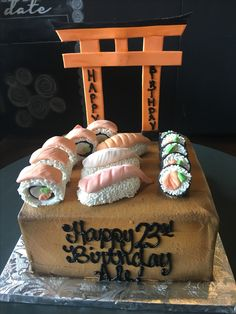 Sushi Theme Birthday Cake!  Sugar Bee Sweets Bakery  www.sugarbeesweets.com Party Cakes, Sushi, Bakery, Bee, Birthday Cake, Sweets, Desserts, Food, Shower Cakes