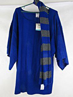 Women's Just My Size Sweater With Scarf Plus Size 3XL (22W/24W) Blue Pompei NEW! #JustMySize #SweaterwScarf