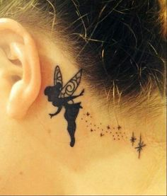 Behind the ear tattoo Tinkerbell