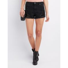 Highway Destroyed Cut-Off Denim Shorts ($13) ❤ liked on Polyvore featuring shorts, black, high waisted cut off shorts, high rise jean shorts, cut off jean shorts, high-waisted shorts and high-waisted jean shorts