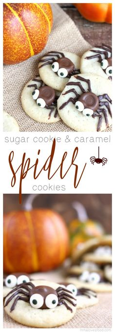 These Sugar Cookie and Caramel Spider Cookies are the perfect easy to make… holiday recipes halloween Chocolate Marshmallow Cookies, Chocolate Chip Shortbread Cookies, Toffee Cookies, Yummy Cookies, Halloween Sugar Cookies, Halloween Desserts, Halloween Cupcakes, Halloween Party, Halloween Foods