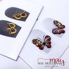 Mais uma #carnaval #borboletas pedrarias  da @ednakassiapeliculasartesanais Manicures, Nailart, Decals, How To Make, Nail Stickers, Creative Nails, Nail Jewels, Nail Arts, Adhesive