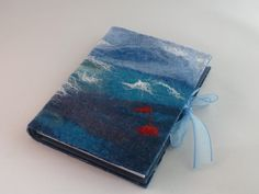 Hand felted A6 Journal - Red Buoy - by Deborah Iden. Available on Etsy.  See more by LittleDeb on Folksy and Facebook. Felting, Journal, Facebook, Red, Etsy, Felt, Felt Fabric, Journal Entries, Journals