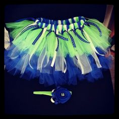 Seahawks TuTu set with 12th man headband! Custom orders welcome www.facebook.com/butterbeanbowtique