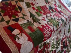 Bobette's Christmas Sampler quilted by Ruby Blue Quilting Studio