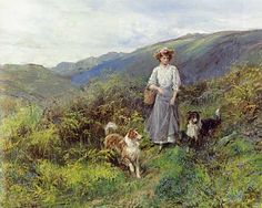 Highland Path - Hayward Hardy, vintage painting, woman with Collies.