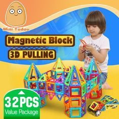 Günstige Minitudou Kinder Spielzeug 32 STÜCKE Erleuchten Ziegelsteine Pädagogische Magnetische Designer Spielzeug Quadrat Dreieck Hexagonal 3D DIY Bausteine, Kaufe Qualität Blöcke direkt vom China-Lieferanten:             wir ordnenzufällige farbe, dank für ihr verstehen.         Minitudou Kids Toys 32PCS Enlighten Bricks Educat
